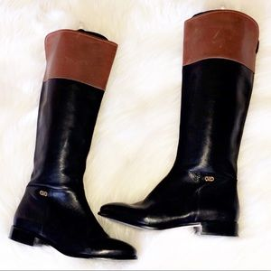 COLE HAAN Colorblock Black Leather Tall Boots